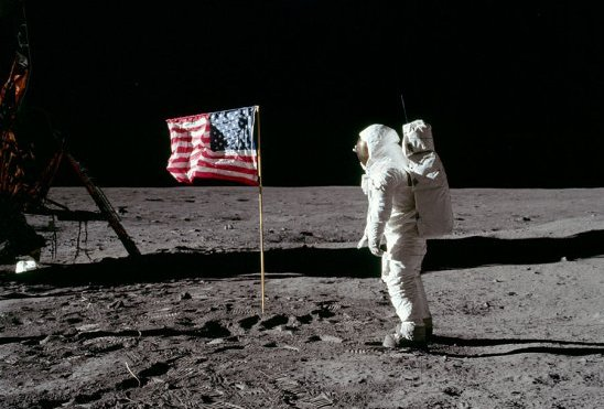 Aldrin saluting the flag