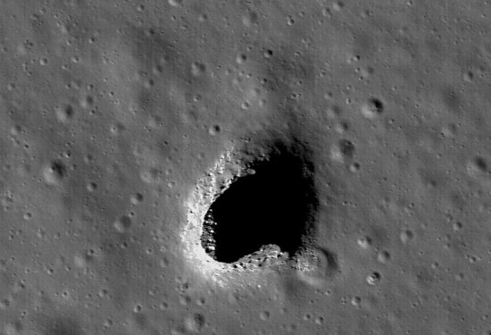 cave entrance on the Moon