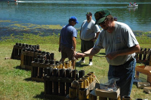 Dave Taverner loading fireworks