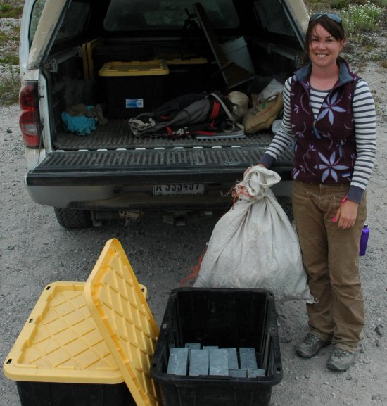 researcher with samples