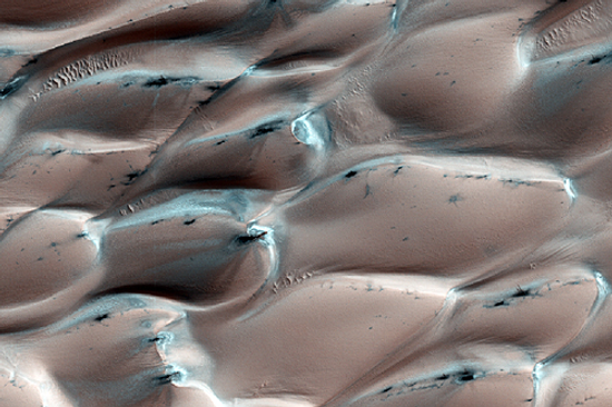 Ice-capped sand dunes