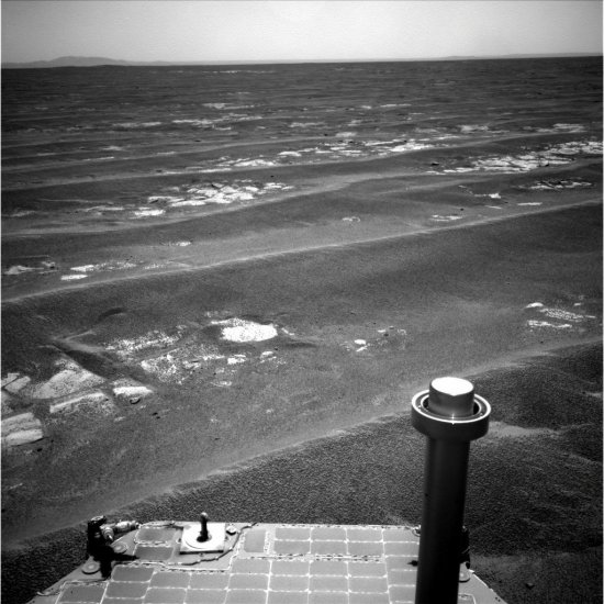 Opportunity looks at Endeavour Crater from .8 miles away