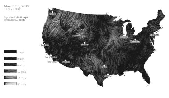 Wind map of the U.S.