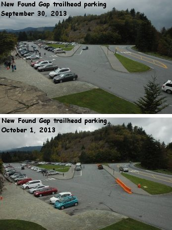 Trailhead parking at New Found Gap, before and after the shutdown