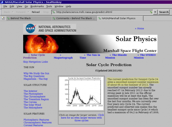 November prediction by Marshall solar scientists