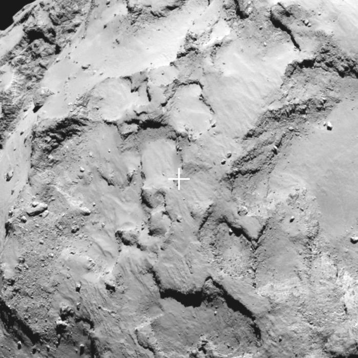 close-up of landing site