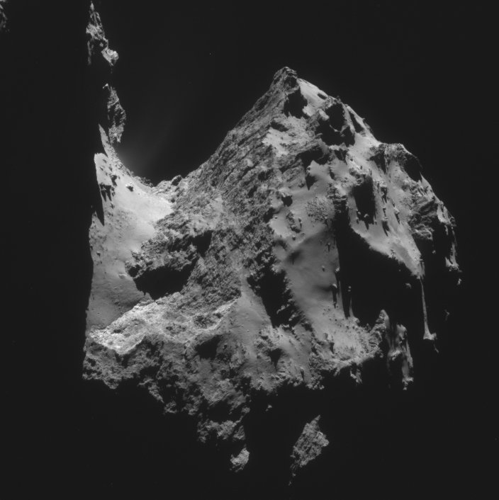 Looking down Comet 67P/C-G's neck