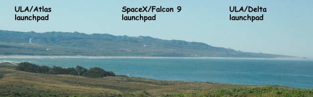 looking south at ULA and SpaceX launch complexes