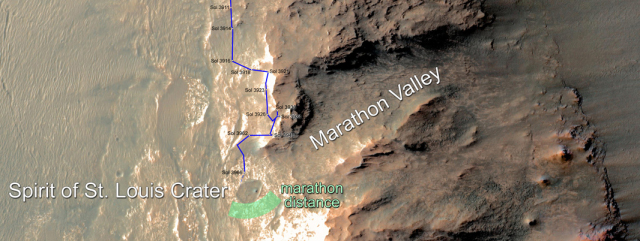 Opportunity at the mouth of Marathon Valley