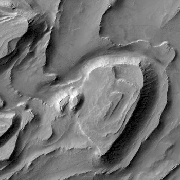 Layered mesas inside a Martian crater