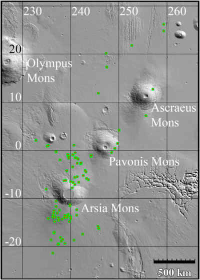 Distribution of cave pits around Arsia Mons