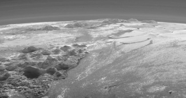 Mountains and glaciers on Pluto