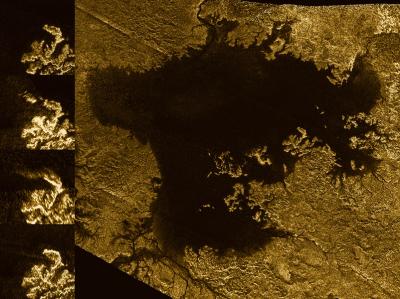 Shoreline changes on Titan