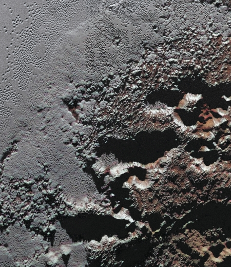 Pluto's jagged shoreline