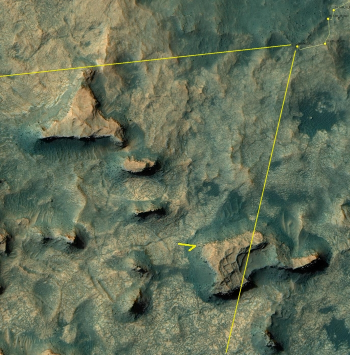 Orbital view of Curiosity's position
