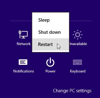 Hold shift key while clicking restart
