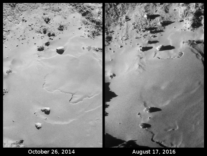 Changes on Imhotep on Comet 67P