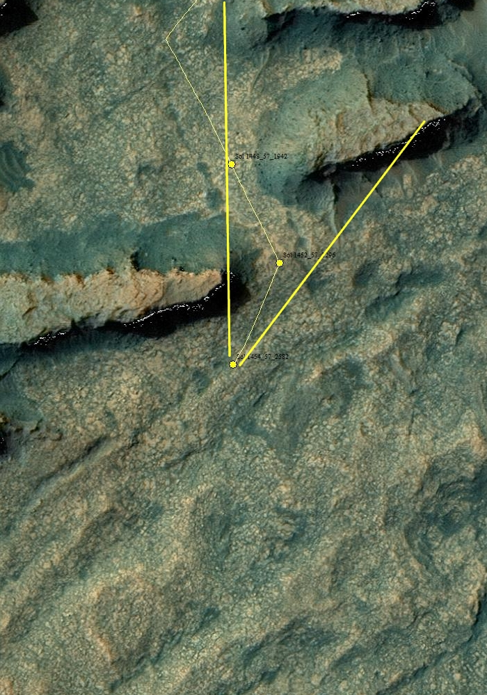 Curiosity location Sol 1454