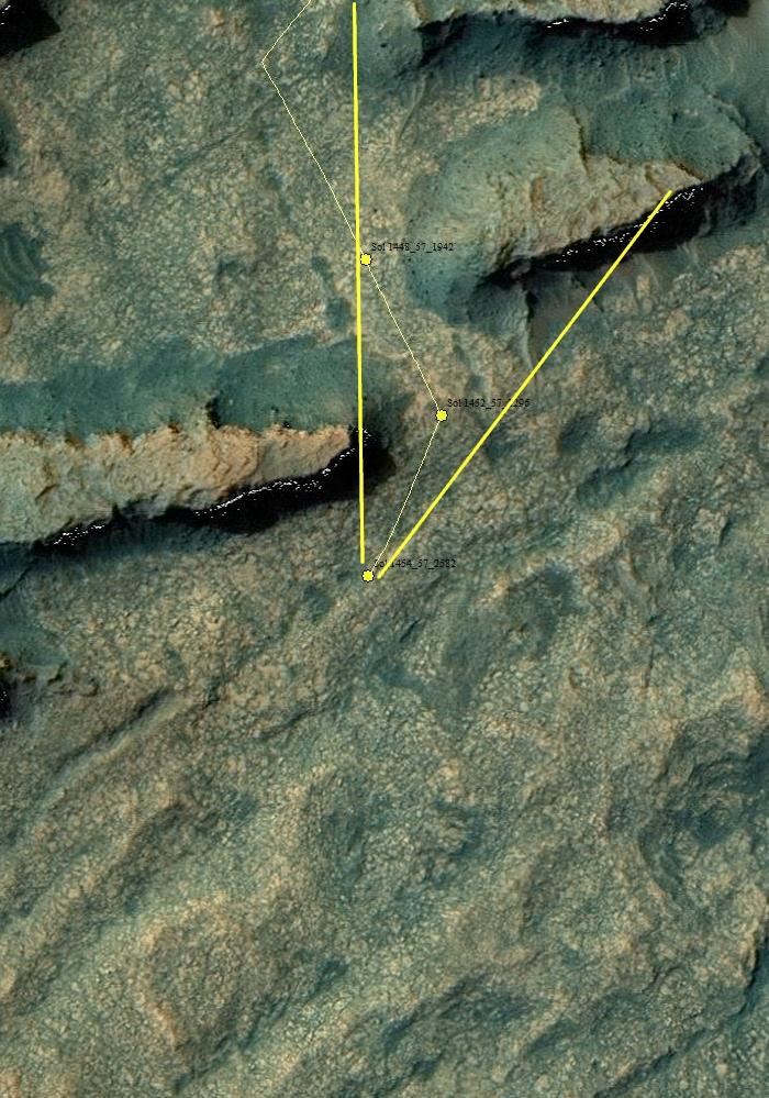 Curiosity location Sol 1454