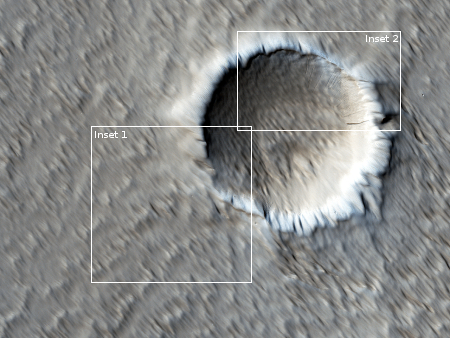 wider view of wind scoured Mars surface