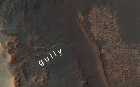 gully in rim of Endeavour Crater