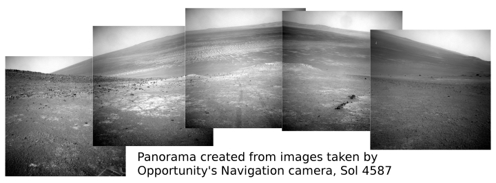 Opportunity's view behind, sol 4587