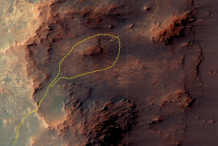 Opportunity traverse map, Sol 4607