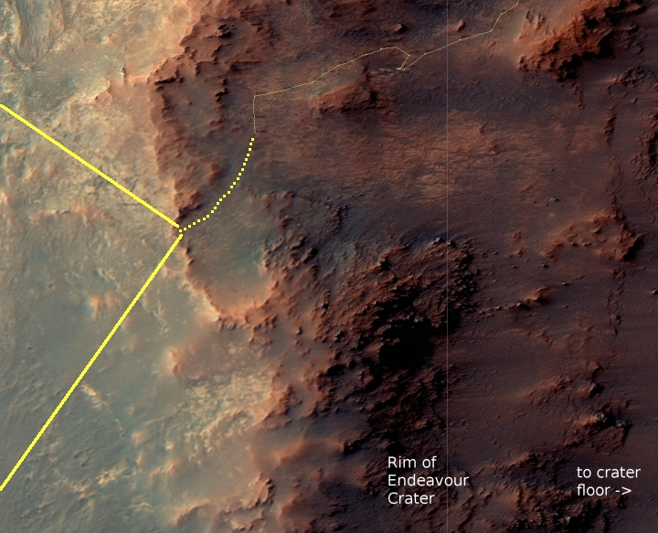 Opportunity traverse map, Sol 4626