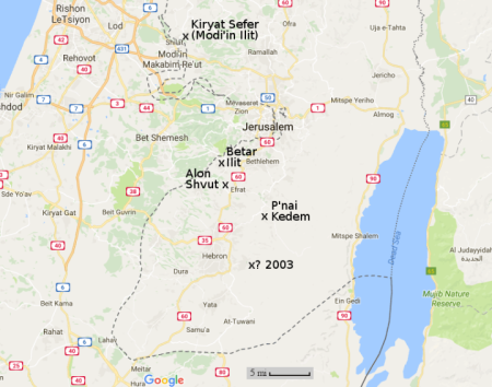 Map of the West Bank settlements that I have visited