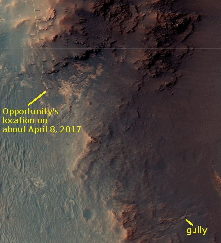 Opportunity's travels through April 8, 2017