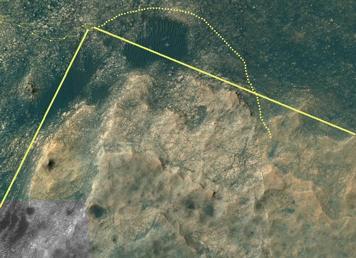 Curiosity's location, sol 1732