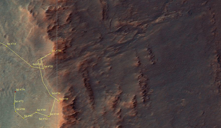Opportunity's travels through sol 4774, June 2017
