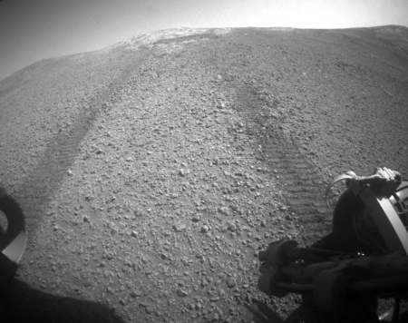 Looking back at Opportunity's tracks in Perseverance Valley