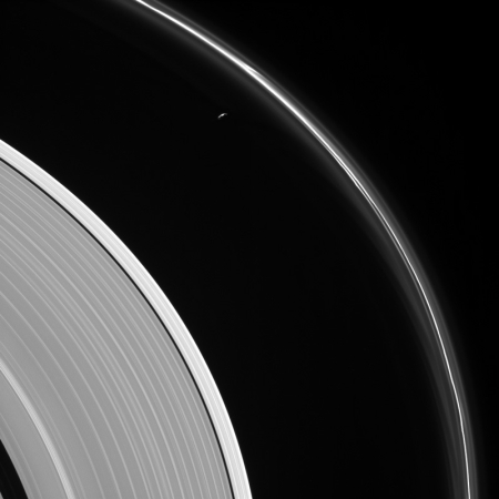 Looking down at Saturn's rings