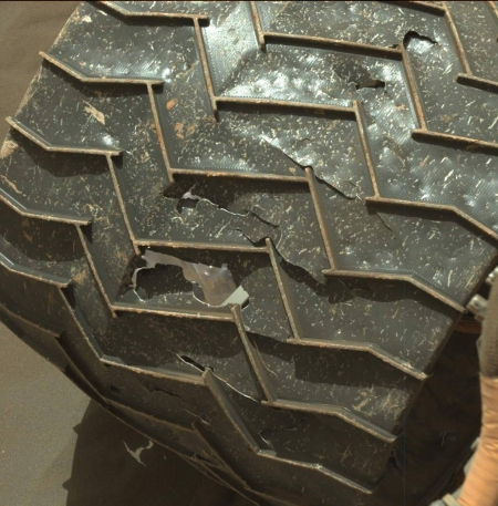 One of Curiosity's wheels, sol 1798