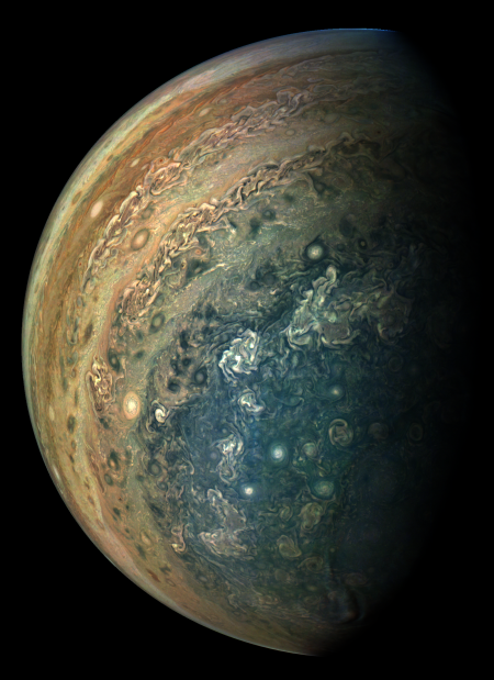 Jupiter's South pole, August 2017