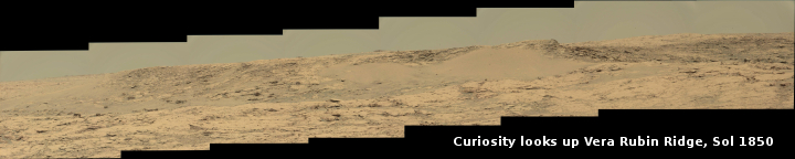 Curiosity looks up Vera Rubin Ridge, Sol 1850