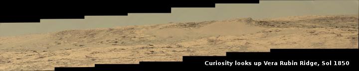 Curiosity looks up Vera Rubin Ridge, Sol 1850