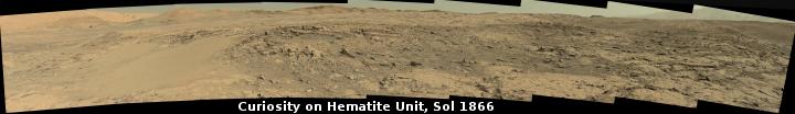 Curiosity on the Hematite Unit, Sol 1866