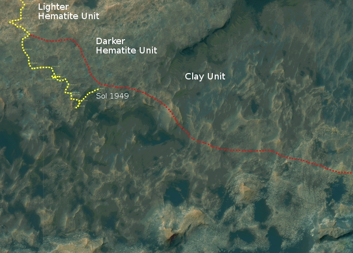 Curiosity's travels as of Sol 1949