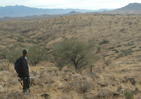 Gary looking out across the deseart during the javelina hunt