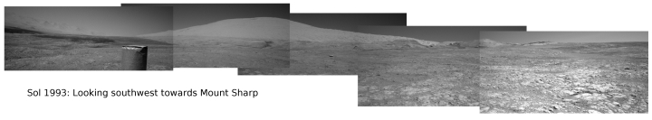 Reduced panorama looking at Mount Sharp, sol 1993