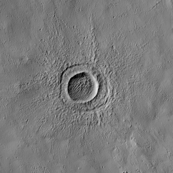 small crater north of Pavonis Mons