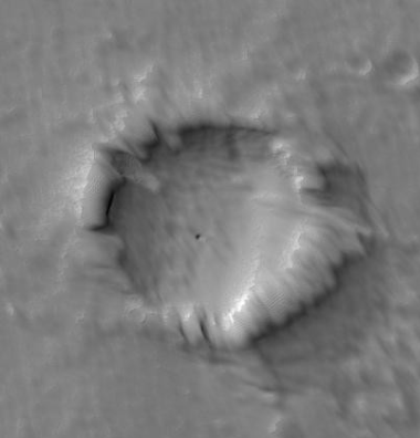weird crater south of Pavonis Mons