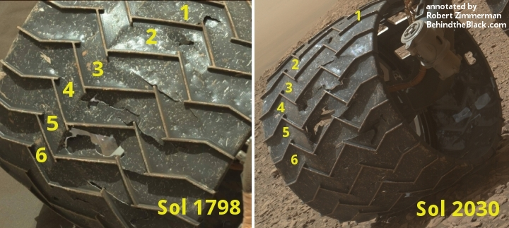 Curiosity wheel damage since September 2017