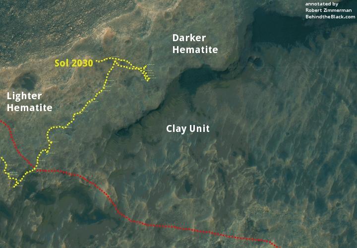 Curiosity's traverse map, Sol 2030