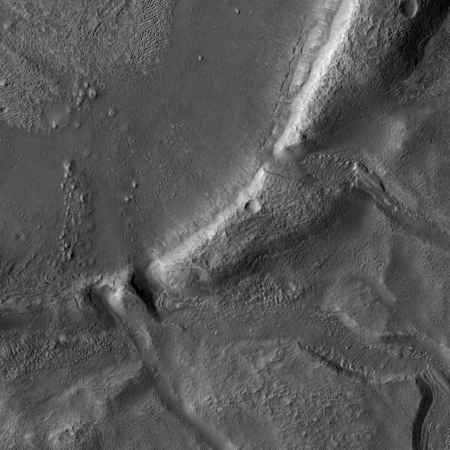 crater with flow channels