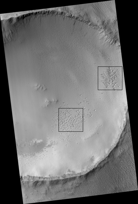 pit features on floor of crater