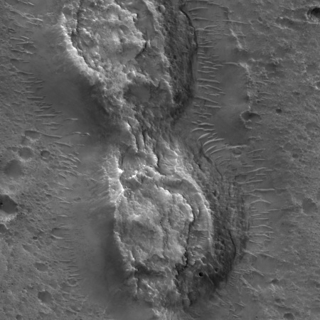 Close-up of collapsed hills