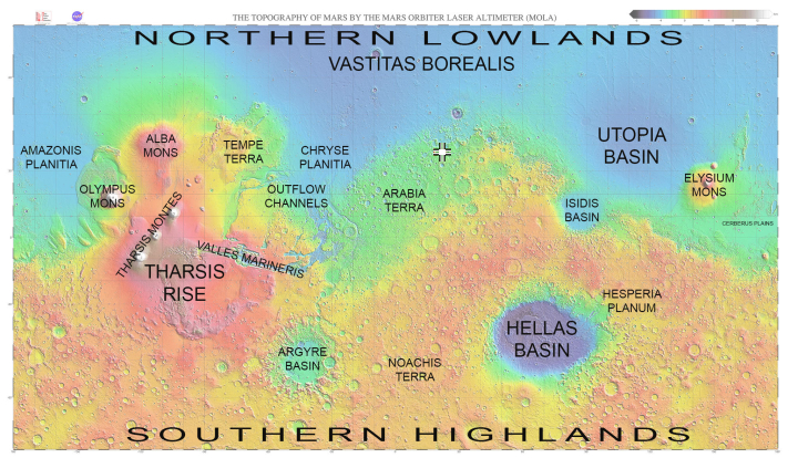 Labeled global Map of Mars